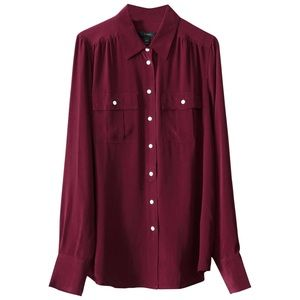 J. Crew Blythe Red Silk Button Down Blouse size 4
